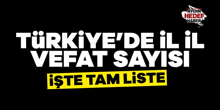 Türkiye'de il il vefat haritası
