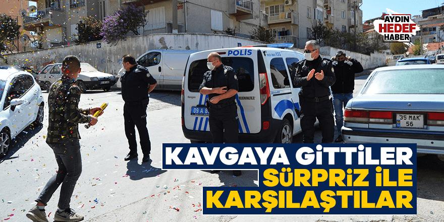 Aydın'da kavga ihbarına giden polislere pastalı sürpriz