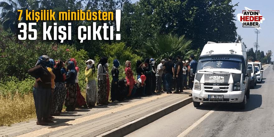 Adana'da 7 kişilik araçtan 35 kişi çıktı