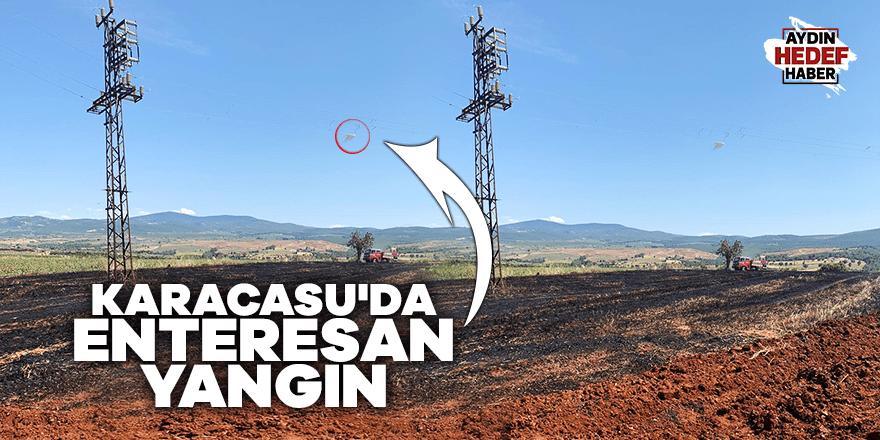 Karacasu'da enteresan yangın