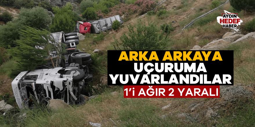 Aydın'da kaza: Arka arkaya uçuruma yuvarlandılar