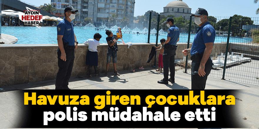 Havuza giren çocuklara polis müdahale etti