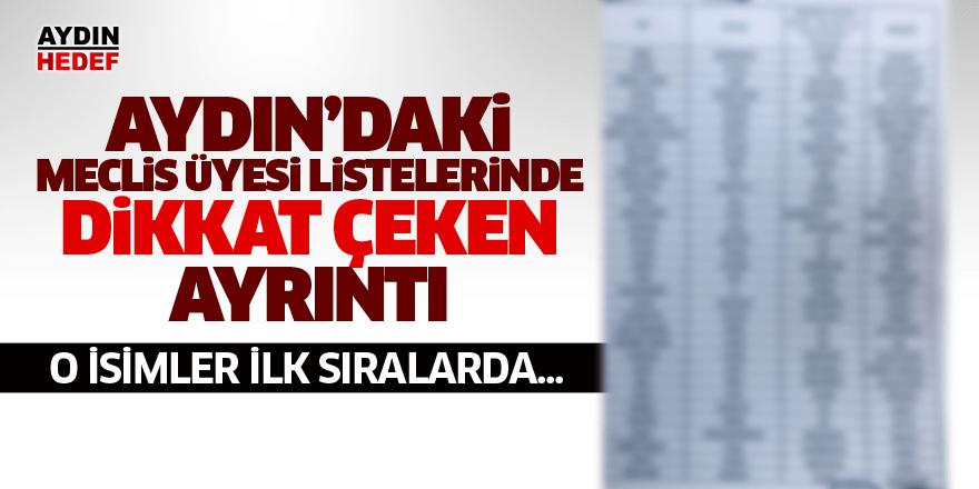 Aydın'daki meclis üyesi listelerinde dikkat çeken ayrıntı