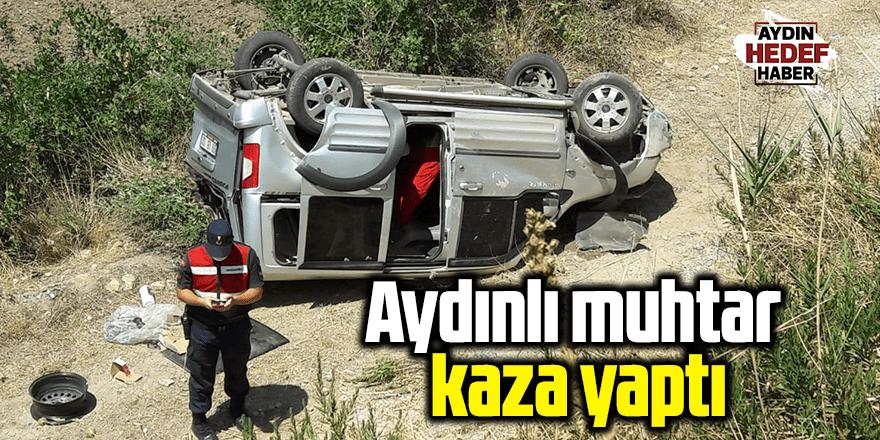 Araç şarampole yuvarlandı, muhtar kazada yaralandı