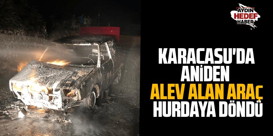 Karacasu'da aniden alev alan araç hurdaya döndü