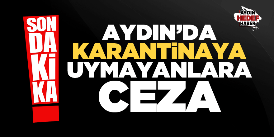 Aydın'da karantinaya uymayanlara ceza!