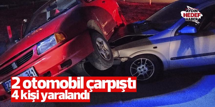 İki otomobil çarpıştı 4 kişi yaralandı