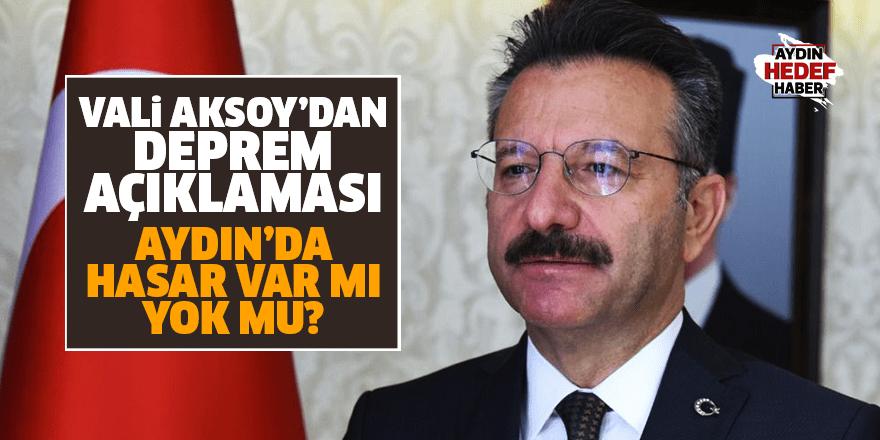 Vali Aksoy, depremle ilgili konuştu