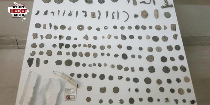 Aydın'da 167 parça eski para ele geçirildi