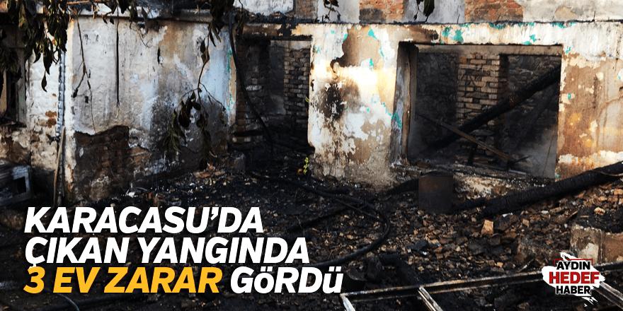 Karacasu'da çıkan yangında 3 ev zarar gördü