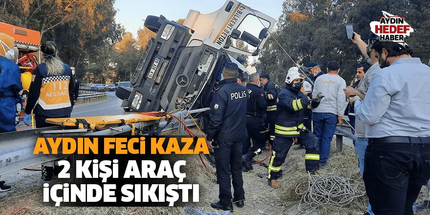Aydın'da beton mikseri devrildi