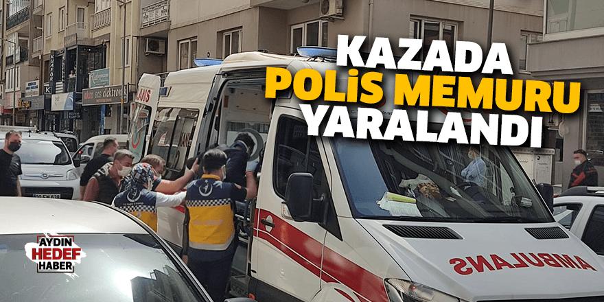 Kazada polis memuru yaralandı