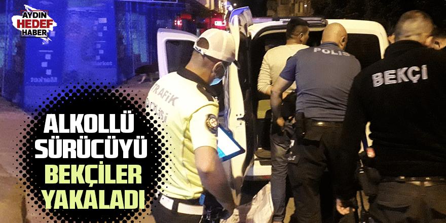 Alkollü sürücüyü bekçiler yakaladı