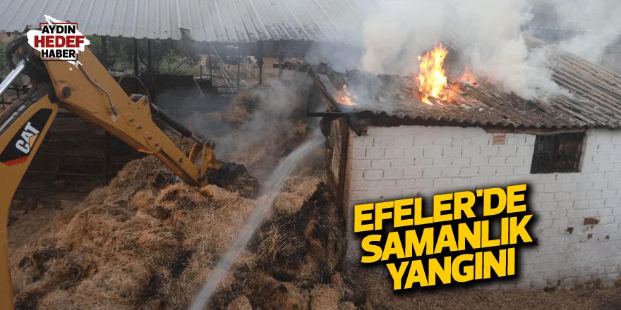 Efeler'de samanlık yangını