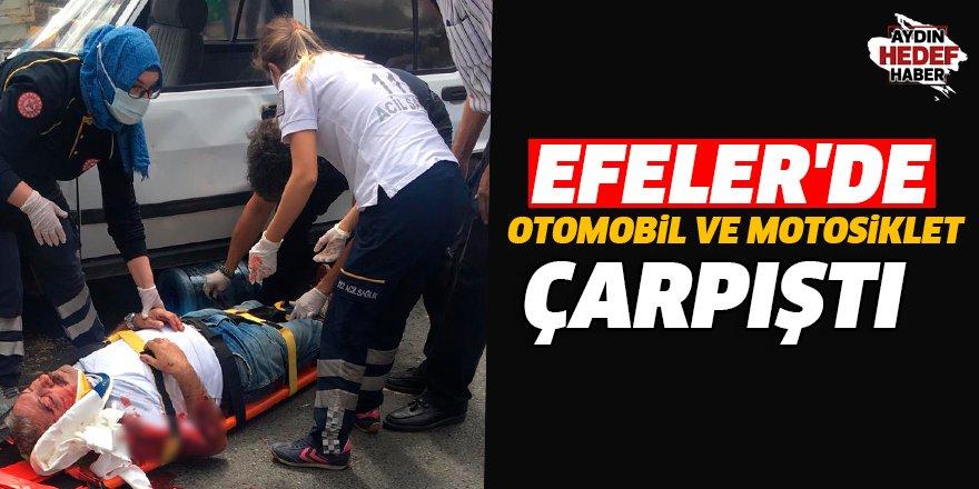 Efeler'de otomobil ve motosiklet çarpıştı