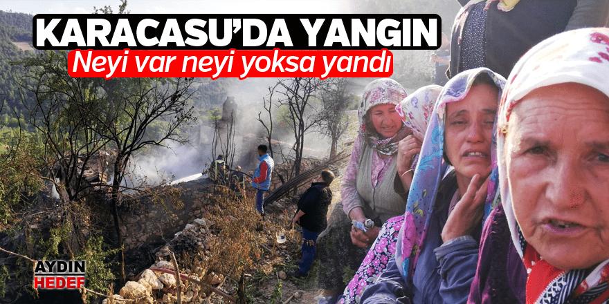 Karacasu'da çıkan yangın bir aileyi evsiz bıraktı