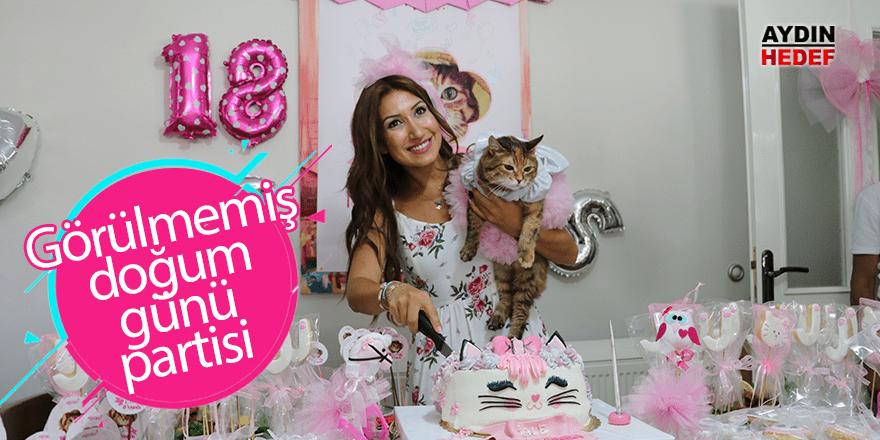 Kedisi için doğum günü partisi yaptı