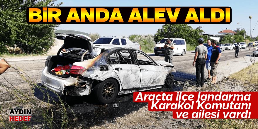 Karacasu'da araç alev aldı