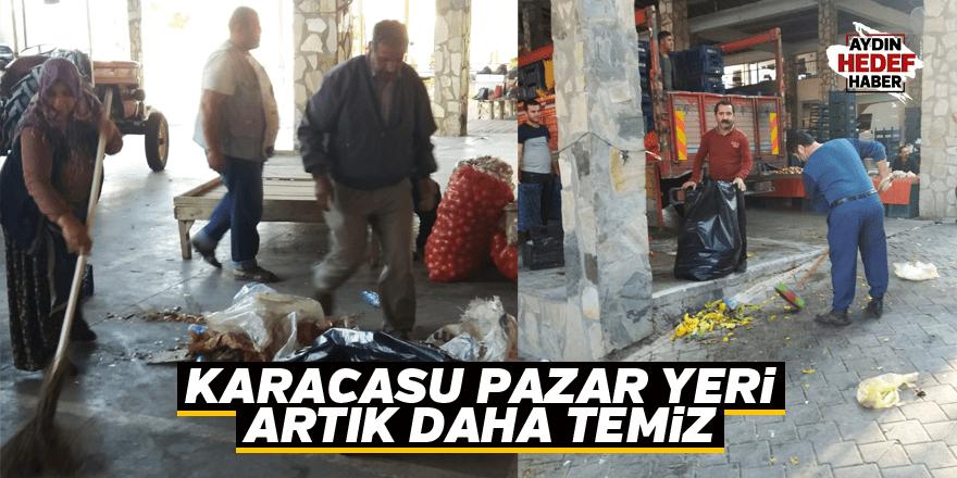Karacasu pazar yeri artık daha temiz