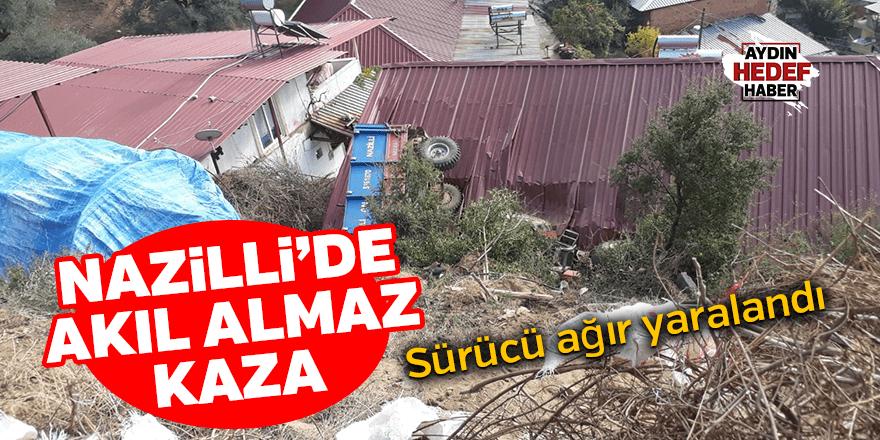 Aydın'da evin çatısına devrilen traktörün sürücüsü ağır yaralandı